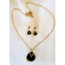 Jewellery - Black and Gold Necklace and Earring Set