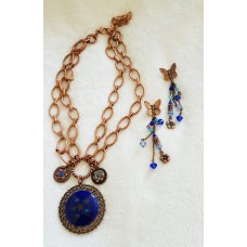 Jewellery - Blue and Copper Necklace and Earring Set