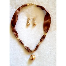 Jewellery - Gold and Brown Necklace and Earring Set